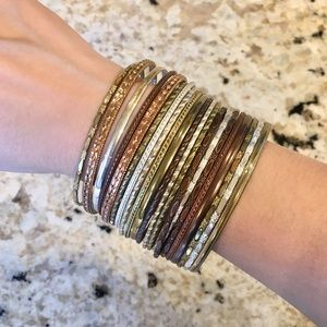 Mixed metals bangle bracelet set, metal jewelry